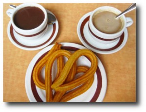 7. Churros y chocolate