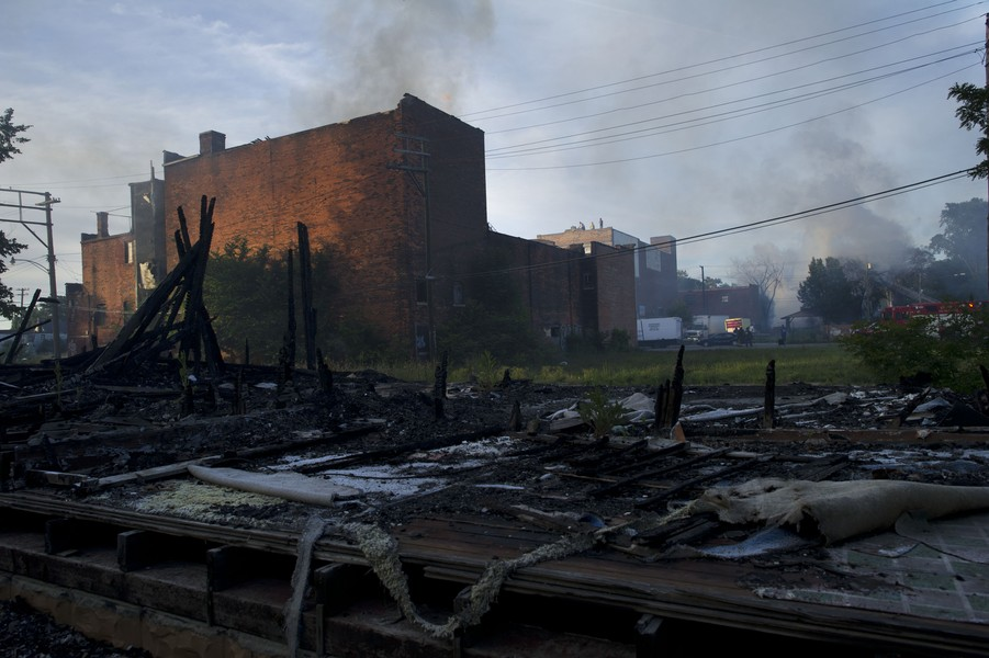 Scene of fire where vacant building burnt to the ground in declining Detroit neighbourhood in 2012
