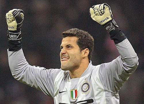Inter Milan's goal keeper Cesar celebrates team mate Cruz's goal against Fenerbahce during their Champions League Group G soccer match in Milan