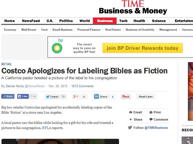 Biblias etiquetadas como ficción