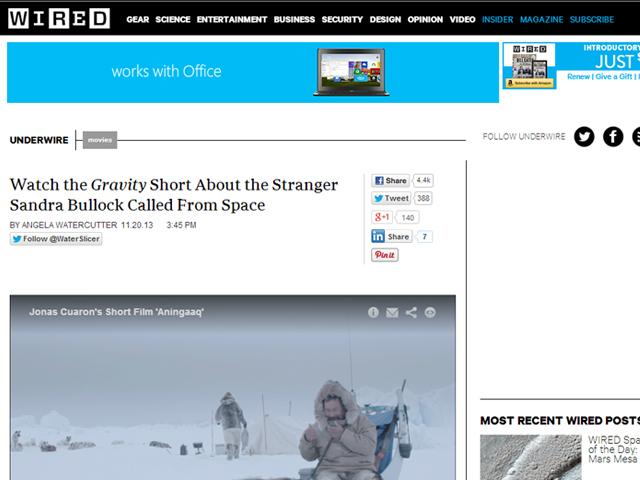 Un video exclusivo sobre la película Gravity