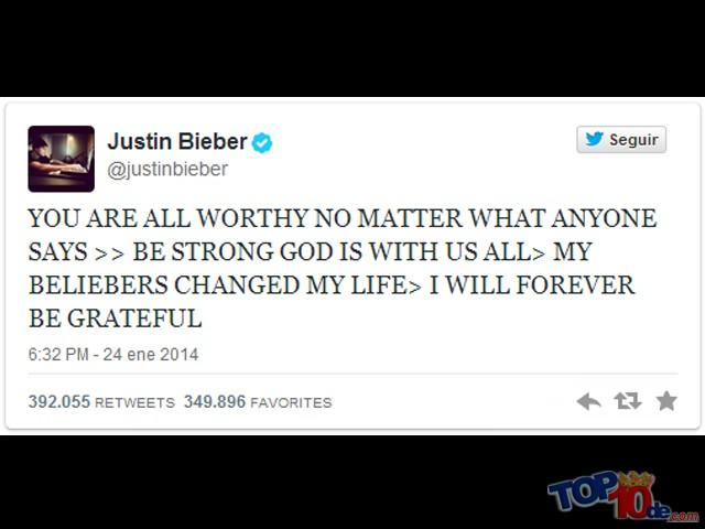 El agradecimiento de Justin Bieber