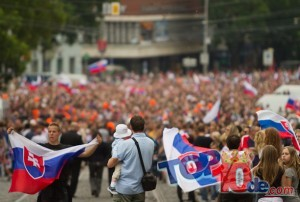 Welcoming party for the Silver Medal Slovak Ice Hockey World Championship team in Bratislava